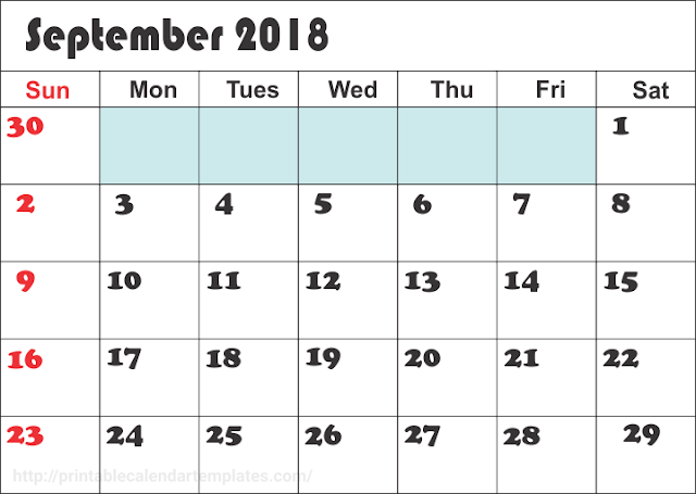 Holiday calendar 2018 September.
