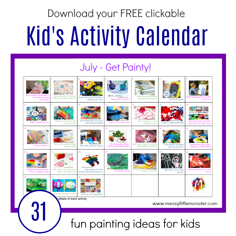 Painting Ideas Activity Calendar – 31 fun painting techniques for kids. Process art painting ideas for toddlers and preschoolers (as well as babies and older kids).
