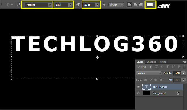 create a text using text tool in photoshop