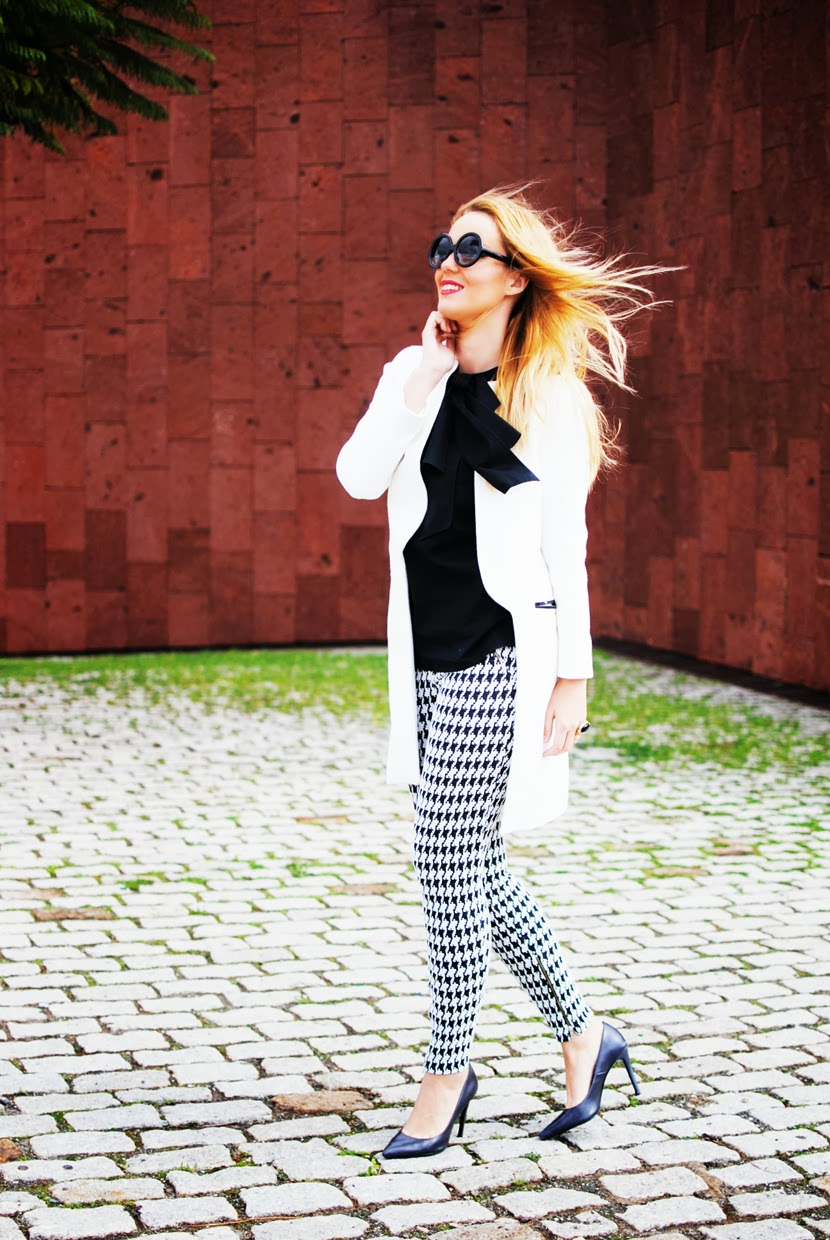 nery hdez, zerouv sunglasses, anillo vjstyle,pata de gallo, houndstooth print, white coat, zara shoes