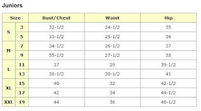 WALMART SIZE CHART