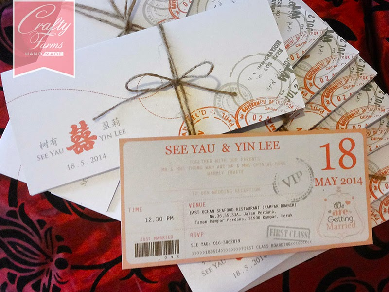 Red And White Modern Chinese Boarding P Wedding Card