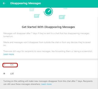 Cara aktifkan fitur baru whatsapp hapus pesan sementara