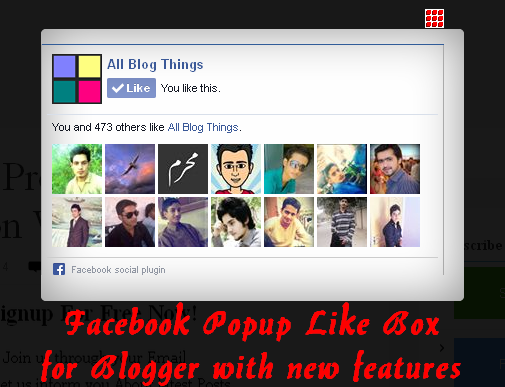 Facebook Popup Like Box for Blogger with new features (demo)