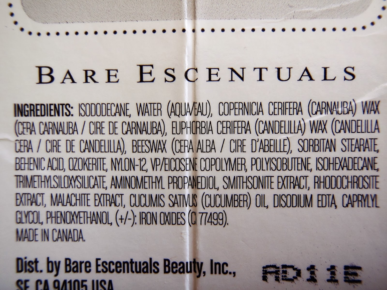 bare minerals flawless definition waterproof mascara ingredients