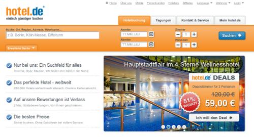 Die Startseite von hotel.de