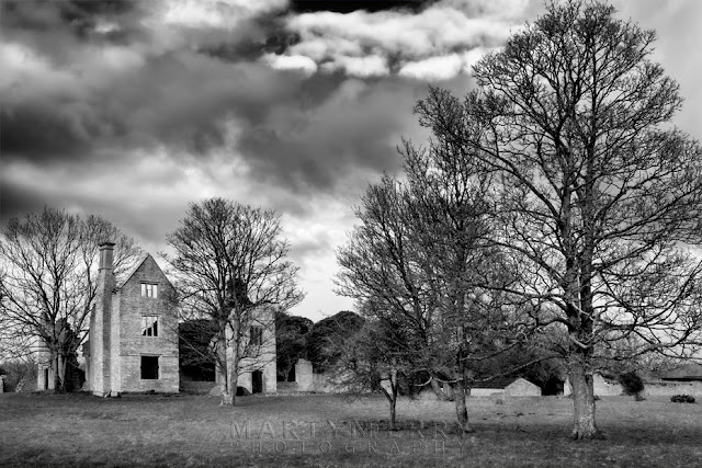 Hampton Gay manor house ruins in black and white by Martyn Ferry Photography