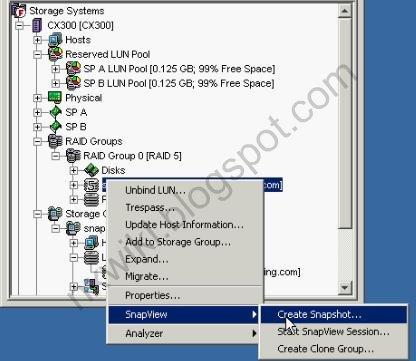 EMC Snapshot Snapview Clone Lun
