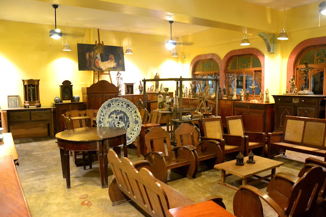 Antique saints and chairs