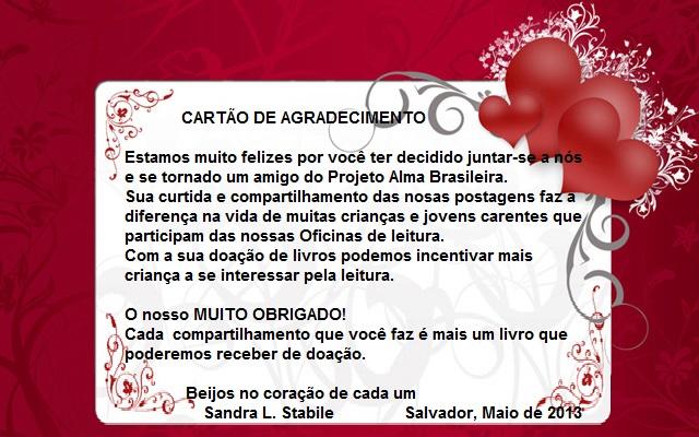 PrOjEtO De LiTeRaTuRa AlmA BrAsilEiRa Cartão de agradecimento