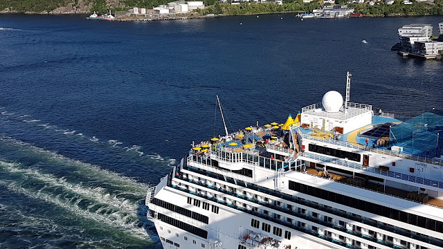 Cruise ship Costa Favolosa passes under the Askøy bridge near Bergen, Norway; Costa Cruises; Ships in Bergen