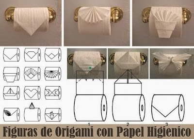 Origami formas con papel higiénico
