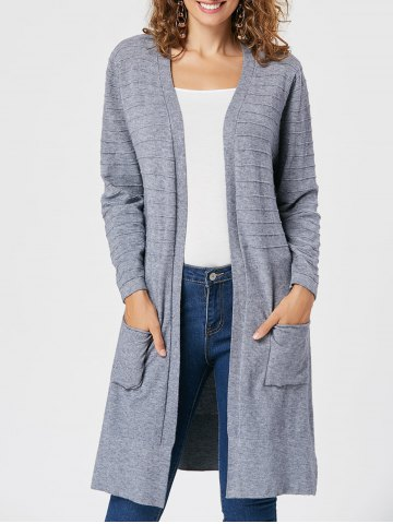 Pockets Slit Open Front Cardigan