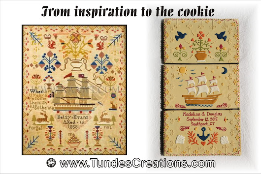 Inspiration: from antique embroidery sampler to cookie gift