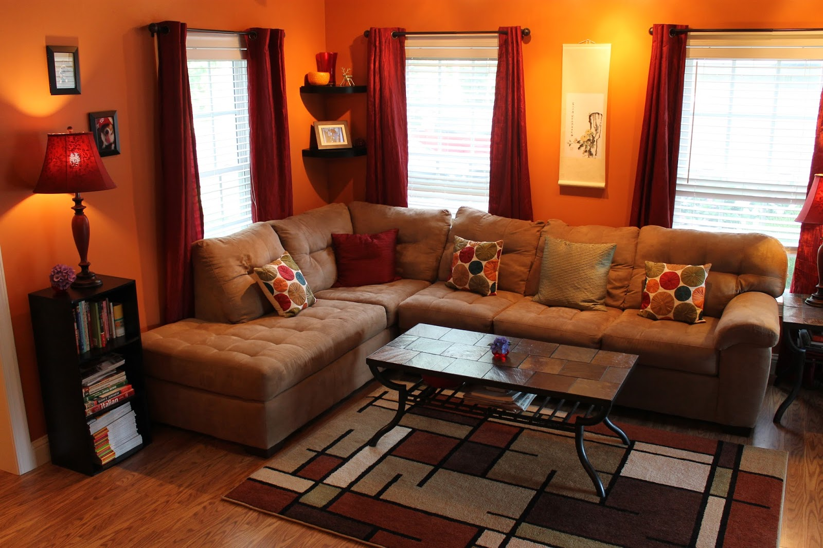 what color curtains go with orange walls | blankets & throws ideas