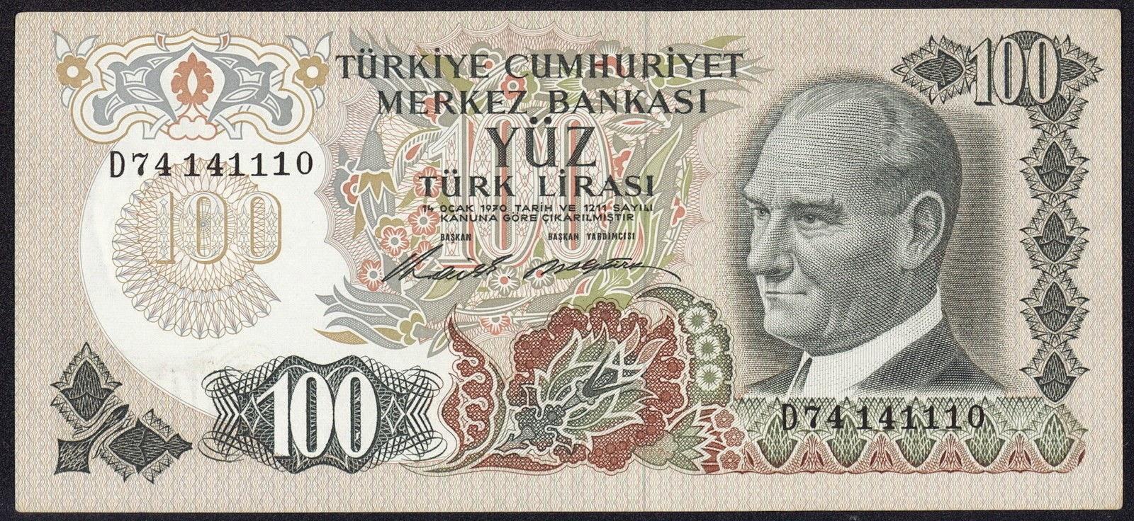 """Turkey Banknotes 100 Türk Lirasi """"Turkish Lira"""" note 1970 Mustafa Kemal Atatürk"""