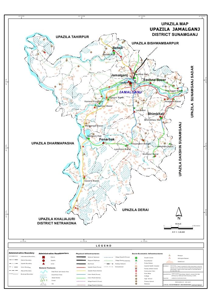Jamalganj Upazila Map Sunamganj District Bangladesh