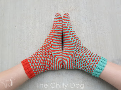 Whimsical sock knitting pattern featuring the brick and mortar stitch