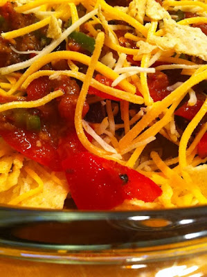 Close up of nacho ingredients