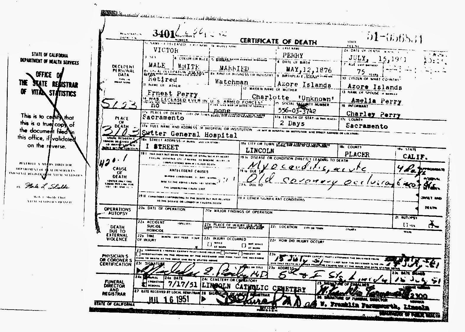 My Book of Remberence: Grandpa Perry aka Victorino Pereira