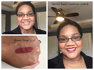 Revlon Super Lustrous Lipstick in Raisin Rage on dark skin