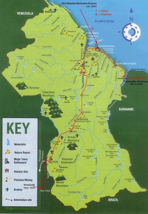 Mapa rodoviário da Guiana