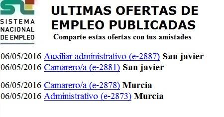 San Javier, Murcia. Lanzadera de Empleo Virtual. Sistema Nacional de Empleo
