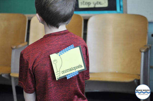 Just write important vocabulary words on cards and then place them on the students' backs.  Then, have partners give each other clues while they play this fun and easy vocabulary game!