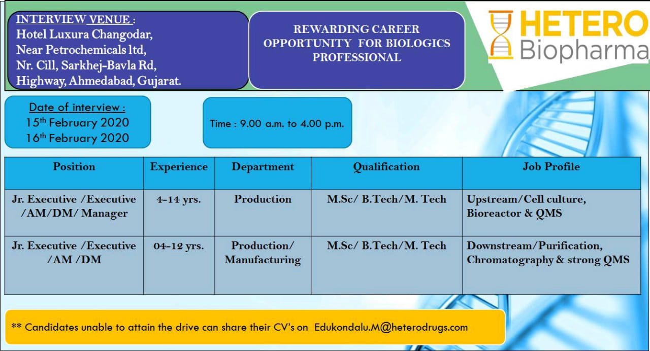 HETERO Biopharma - Walk-In Interview for Production / Manufacturing on 15th & 16th Feb' 2020 @ Ahmedabad