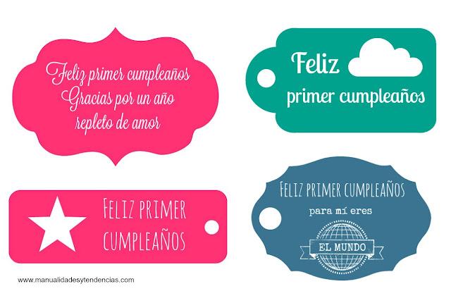 Etiquetas de regalo imprimibles para primer cumpleaños