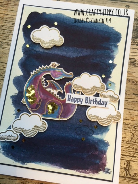 Create a dragon card using the Magical Day stamp set and some Rich Razzleberry Ink from Stampin' Up!