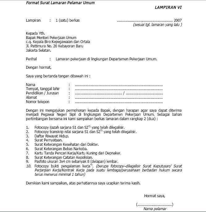 Contoh Surat Lamaran Format Bahasa Inggris Cover Letter