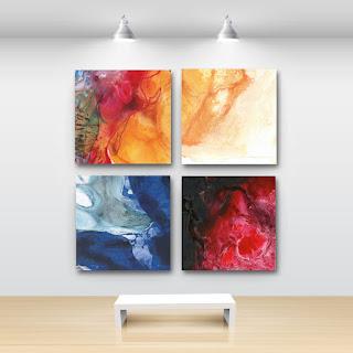 pintura abstracta impresa lienzo