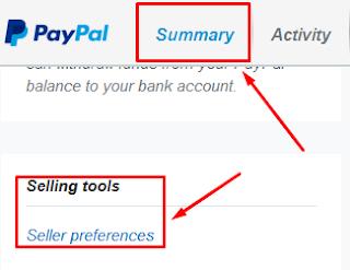PayPal, Seller preferences