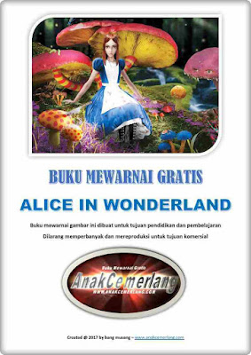 Buku Mewarnai Gratis Alice in Wonderland