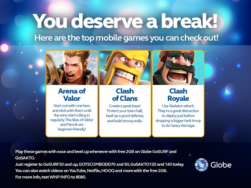 Globe Gives Free 2GB Data for Games and Videos through Its Prepaid Promos!