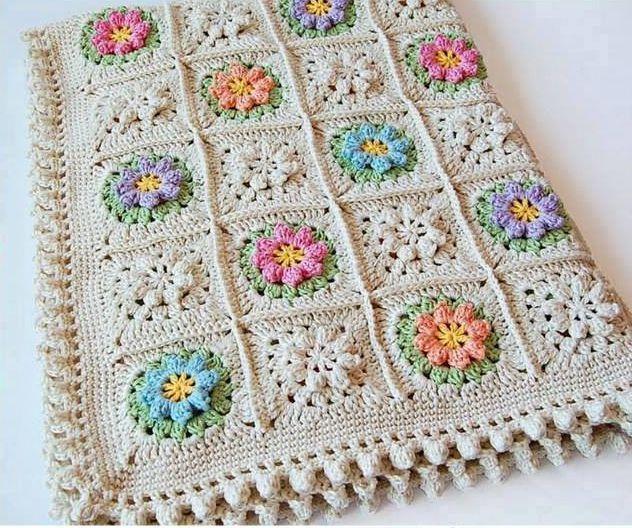 Patrón #1571: Manta a Crochet