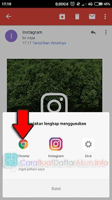 cara mengonfirmasi email instagram