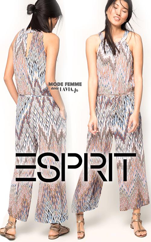 Combi pantalon fluide imprimée motif zig-zag ESPRIT