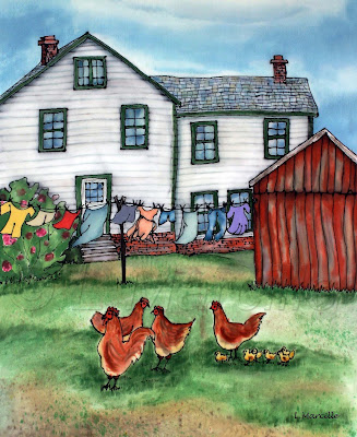 Silk painting, silk art, art, painting, landscape, landscape painting, chickens, farm, Laundry on line, clothes line, farm house,  fiber art, SPIN