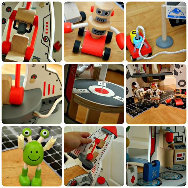 Hape Discovery Space Centre Close Up details Spaceship alien rocket robot wooden toy