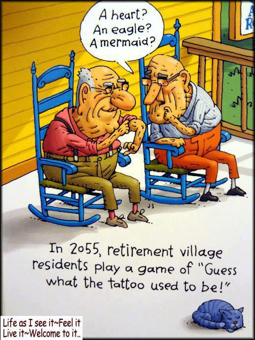 funny retirement quotes games homes jokes humor cartoons cartoon joke senior age happy play almost village aging too tattoo fun