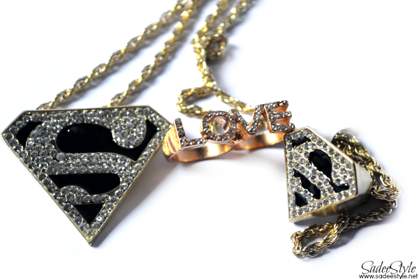 Superman Necklace, Superman Ring, Love Double Ring