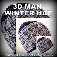 3D MAN WINTER HAT Crochet Pattern
