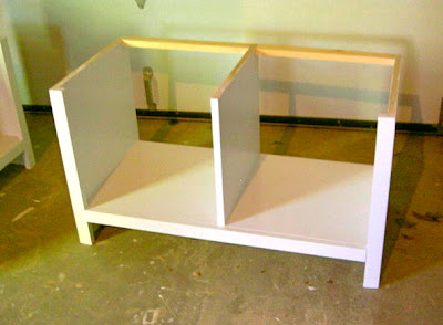 painted build bench with cubbies