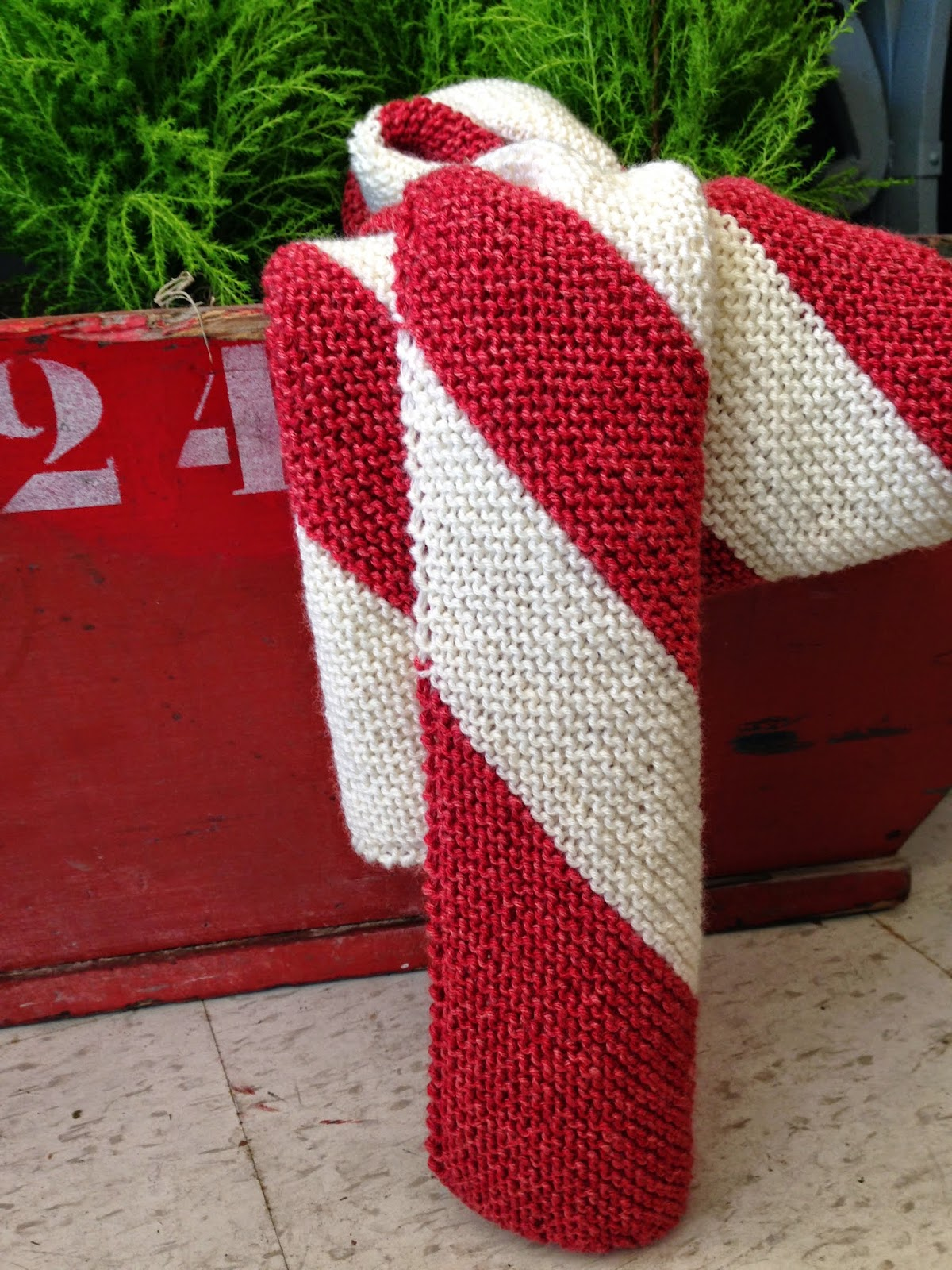 Knitionary Candy Cane Scarf Free Pattern Preview