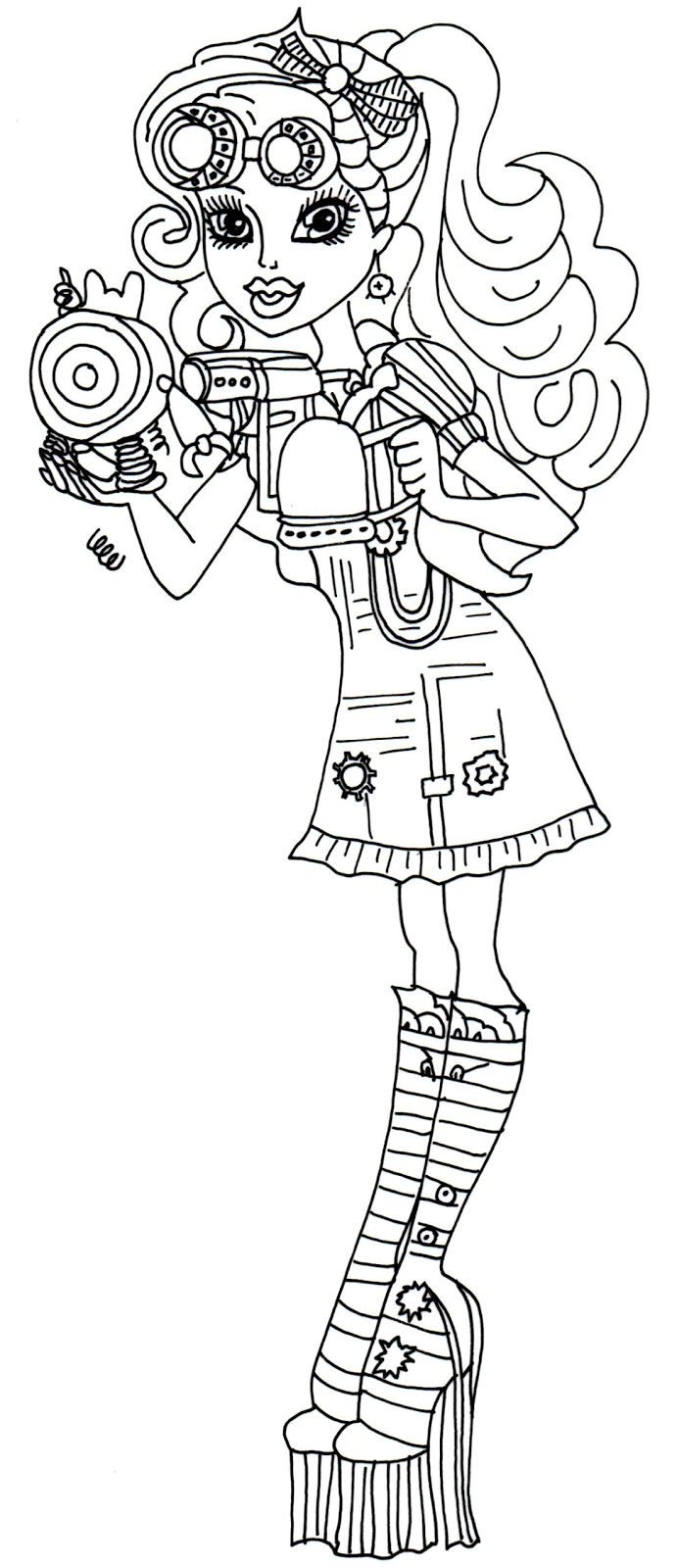 new monster high dolls 2014 coloring pages: Robecca Steam
