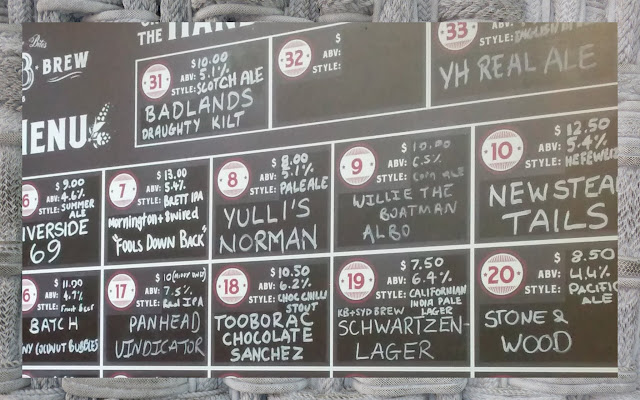 Beer menu in Sydney, Australia highlighting high prices