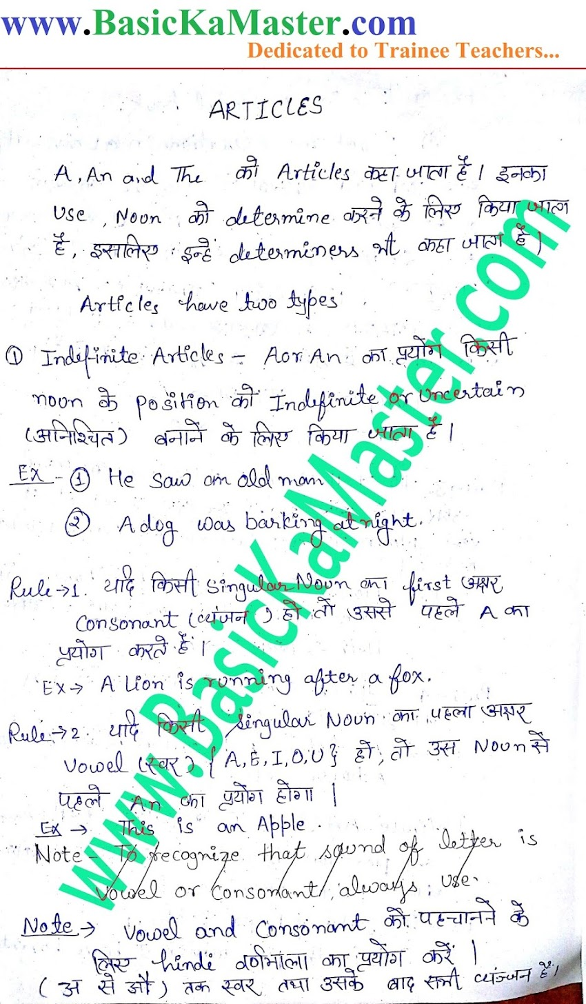 English Hand written Notes- 1 (Ariticles)