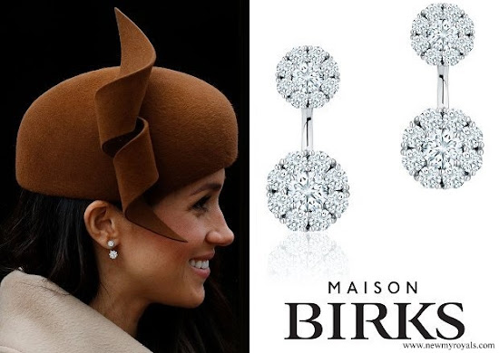 Meghan Markle Birks Snowflake Large Round Jacket Earrings